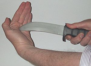 A blunt soft-plastic knife for martial arts an...
