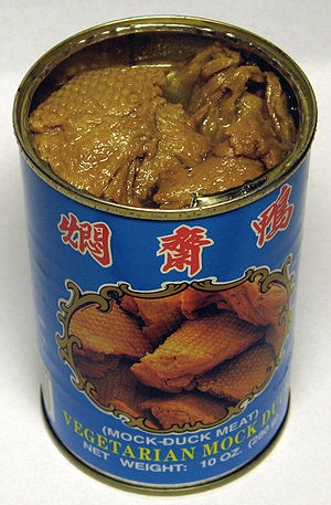 Opened can of vegetarian