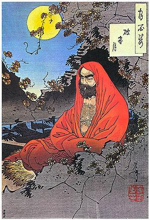Bodhidharma, woodblock print by Yoshitoshi, 1887.
